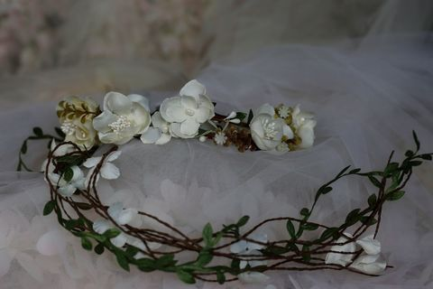 Boho,chic,wedding,floral,crown,with,vine,leaf,streamers,Boho chic wedding floral crown with vine leaf  streamers, wedding hair accessories uk, bridesmaid hair accessories, floral hair accessories for your bridesmaids, floral headband uk, hair accessories  for weddings, boho chic wedding crown, floral wedding c