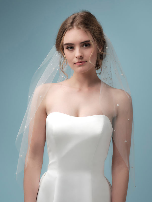 Beaded pearl hip length wedding veil - product images  of