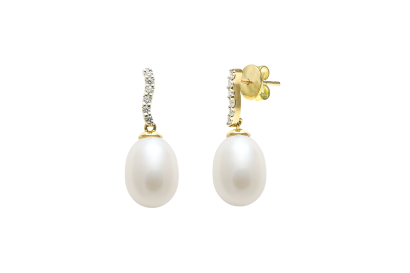 Diamond set 18ct gold pearl stud wedding earrings  - product images  of