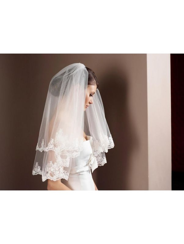 Two layered lace edge elbow length wedding veil - product images  of