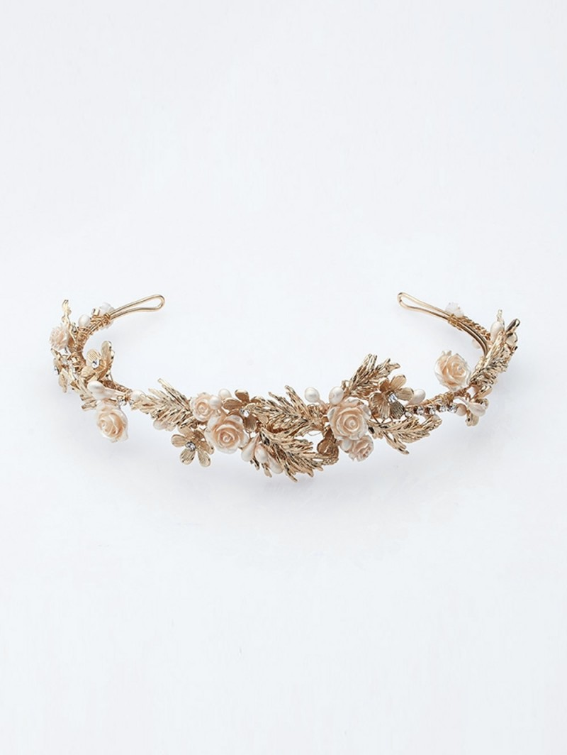 Flower and gold wedding tiara