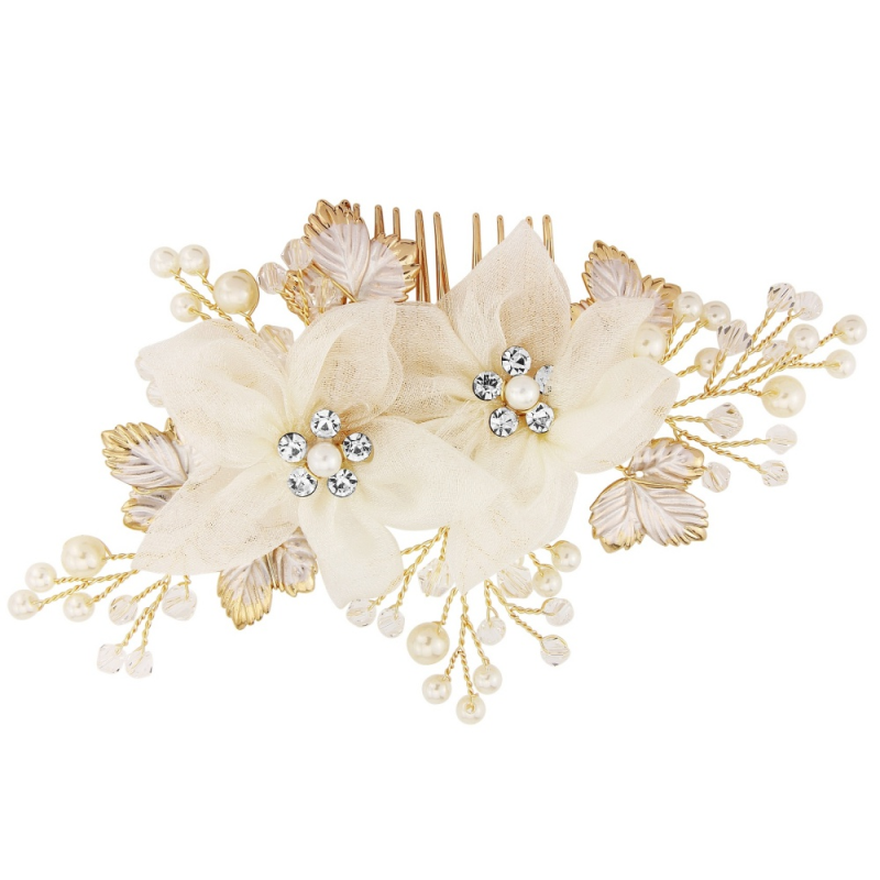 floral and gold wedding hair comb