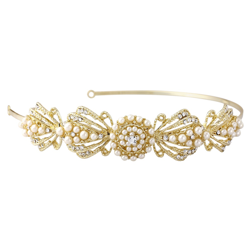 Art deco gold wedding headband