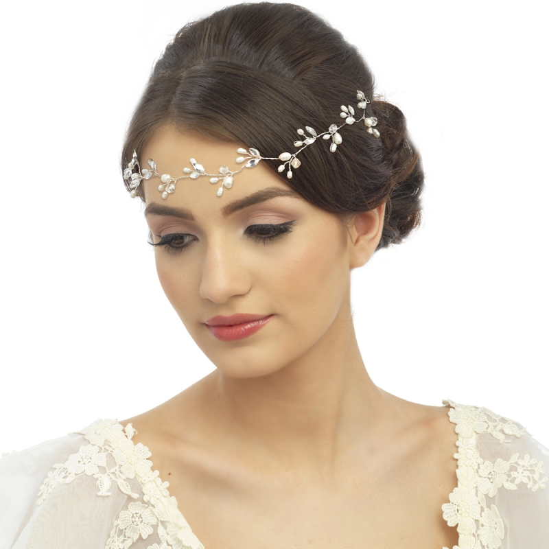 Rose gold crystal and pearl wedding hair vine - product images  of