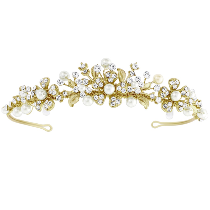 Gold and pearl wedding tiara - product images  of