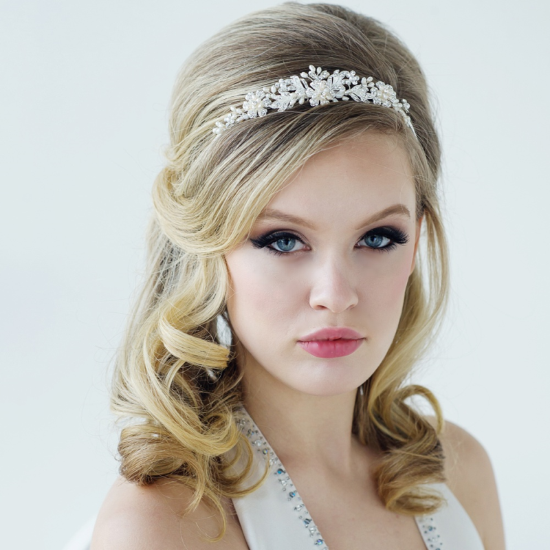 Luxury freshwater pearl and crystal wedding tiara - product images  of