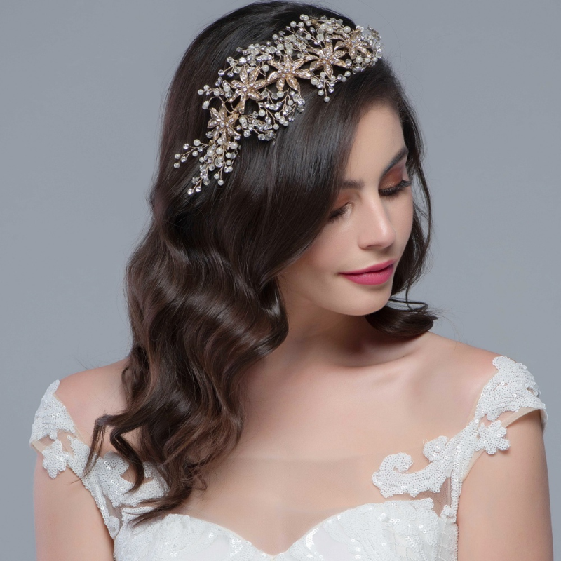 Statement pearl wedding headpiece - product images  of