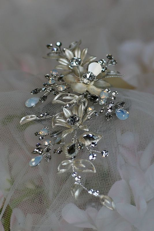 Diamante Flower Wedding Hair Piece - product images