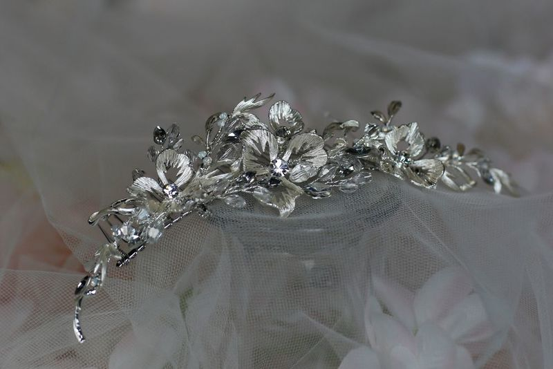 Silver and Diamante Floral Wedding Hair Comb - product images