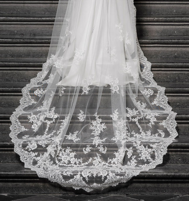 Lace scalloped edge royal length wedding veil - product images  of