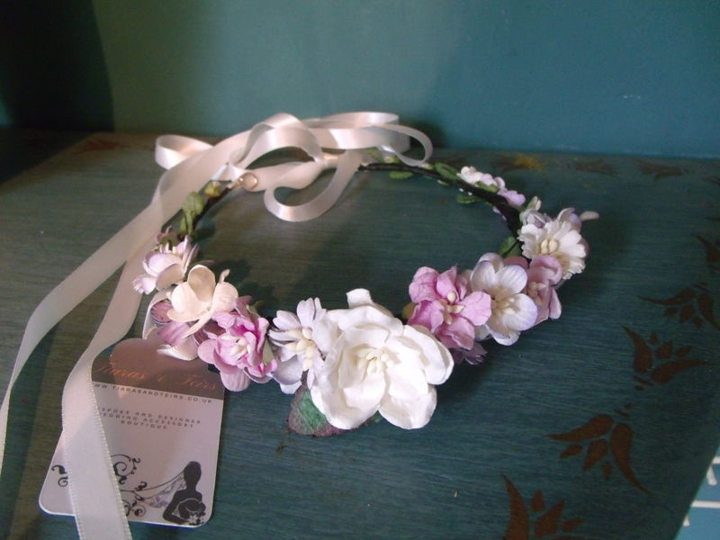 Boho chic floral wedding hair piece - product images  of