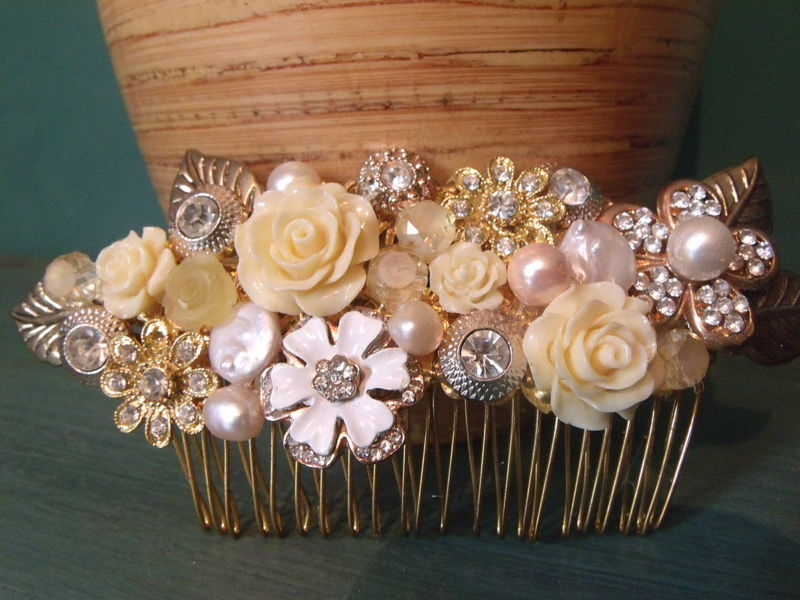 Vintage gold floral wedding hair comb  - product images  of