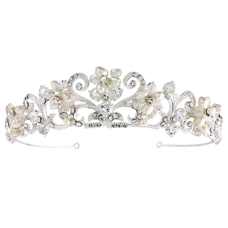 Crystal and pearl vintage wedding tiara - product images  of