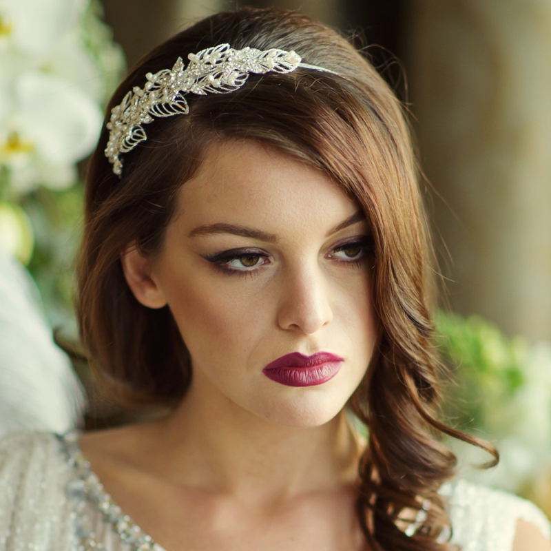 Leaf and pearl vintage wedding side headband - product images  of