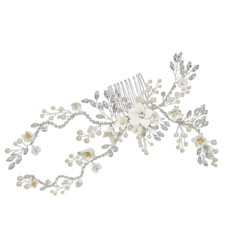 Vintage pearl and flower wedding hair comb - product images  of