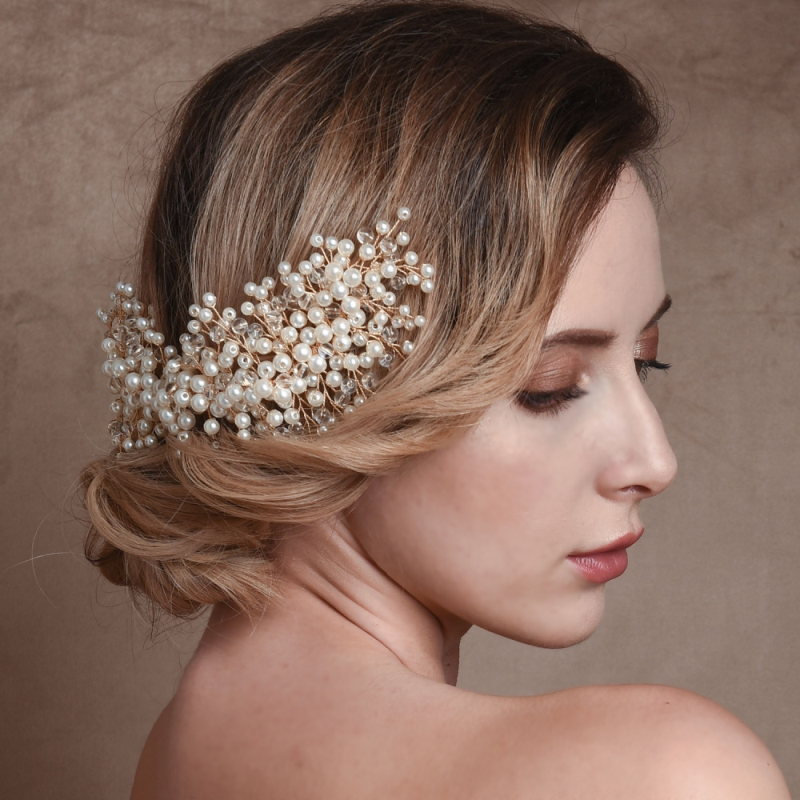 Luxury pearl wedding hair comb - product images  of