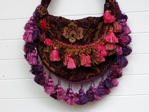 Purple,Chenille,with,Fringe,handbags