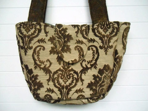 Vintage,Tobacco,Brown,Cut,Velvet,Purse