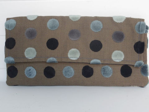 Blue,Polka,Dot,Velvet,Clutch