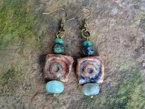 Boho,Clay,and,Czech,Bead,Earrings,Bead earrings, clay earrings