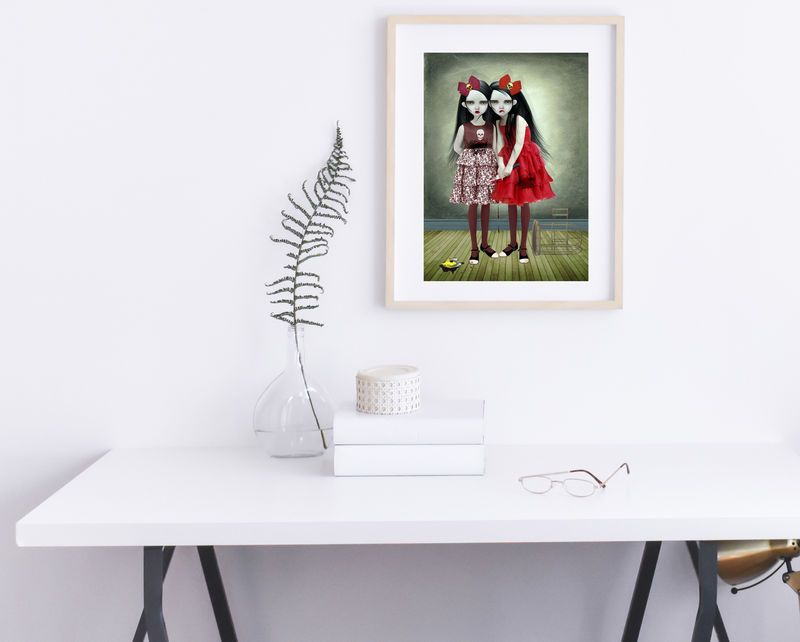 Creepy Twin Sisters Art Print - A Deliberate Accident - product image