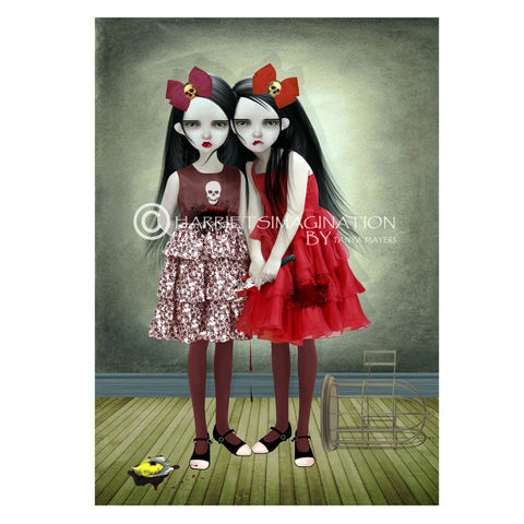 Creepy,Twin,Sisters,Art,Print,-,A,Deliberate,Accident,Creepy twin sisters art print, Creepy cute wall art, Pop surrealism, Lowbrow art, Sisters print, HarrietsImagination