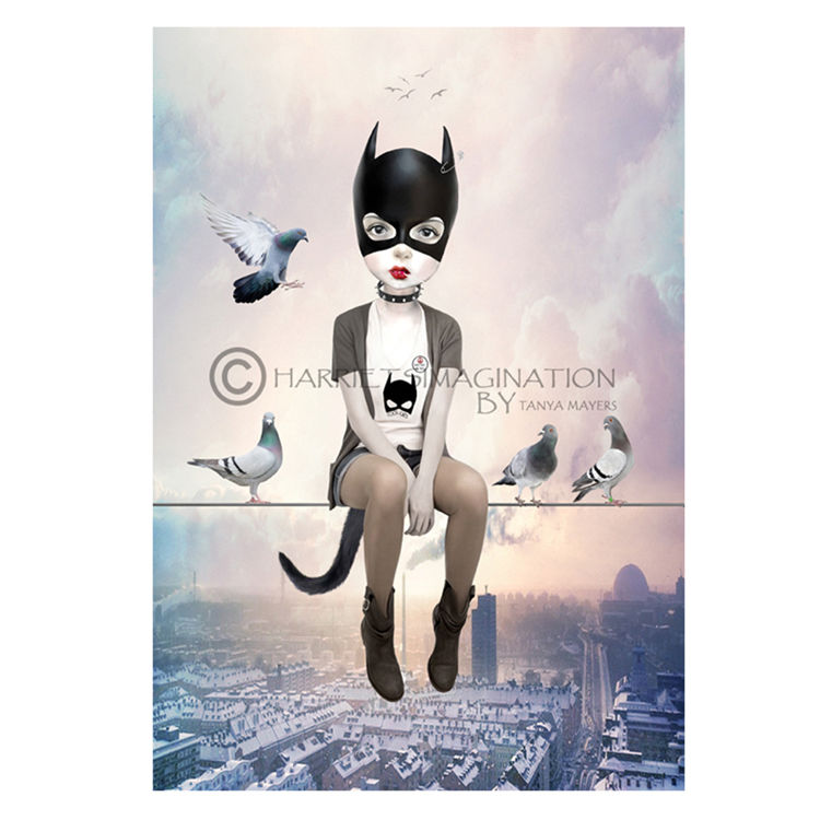 Cat Among The Pigeons | Pop surreal ACEO Print - product image