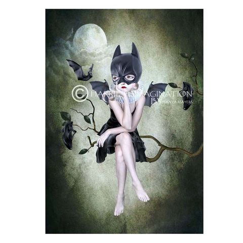 Batgirl,And,Bats,Art,Print,-,Moonlighting,Batgirl and bats art print, Bat art, Pop surrealism lowbrow, wall art print, Bat girl, HarrietsImagination