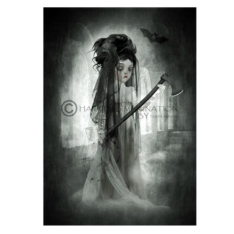 Ghost,Girl,Art,Print,-,Black,Widow,Ghost girl art print, Black widow, Gothic Art, Creepy cute, Wall art print, HarrietsImagination