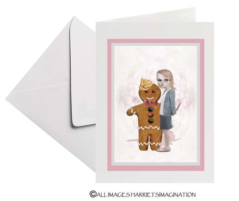 Gingerbread,Man,Art,Greeting,Card,Gingerbread Man Art Greeting Card, Blank Art Greeting Card, All Occasion Card, Art Greeting Card, Art Card, Keepsake card, HarrietsImagination