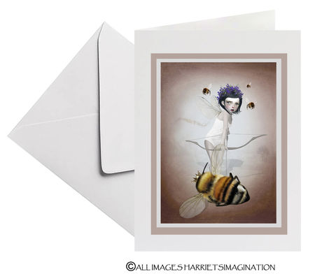 Queen,Bee,Fairy,Art,Greeting,Card,Queen Bee Fairy Art Greeting Card, Blank Art Greeting Card, All Occasion Card, Art Greeting Card, Art Card, Bee Greeting Card, Keepsake card, Fairy Greeting Card, HarrietsImagination