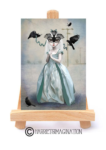 Masked,Girl,And,Birds,ACEO,Print,-,A,Place,To,Belong,Masked Girl And Birds ACEO Print, Pop surrealism, ACEO Print, ACEO Card, ACEO Trading Card, Quirky art, Bird Theme Art, Miniature Art, HarrietsImagination, Tanya Mayers