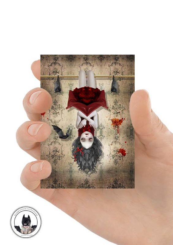 Vampire Girl And Bats ACEO Print - Among Friends - product image