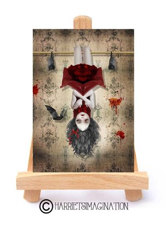 Vampire,Girl,And,Bats,ACEO,Print,-,Among,Friends,Vampire Girl And Bats, Gothic ACEO Print, Vampire Bats, ACEO Print, ACEO Card, ACEO Trading Card, Pop surrealism, Gothic Vampire, Miniature Art, HarrietsImagination, Tanya Mayers