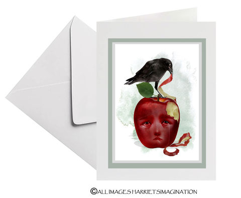 Blackbird,And,Apple,Art,Greeting,Card,Blackbird And Apple Art Greeting Card, Blank Art Greeting Card, Bird Greeting Card, All Occasion Card, Card for bird lover, HarrietsImagination, Tanya Mayers