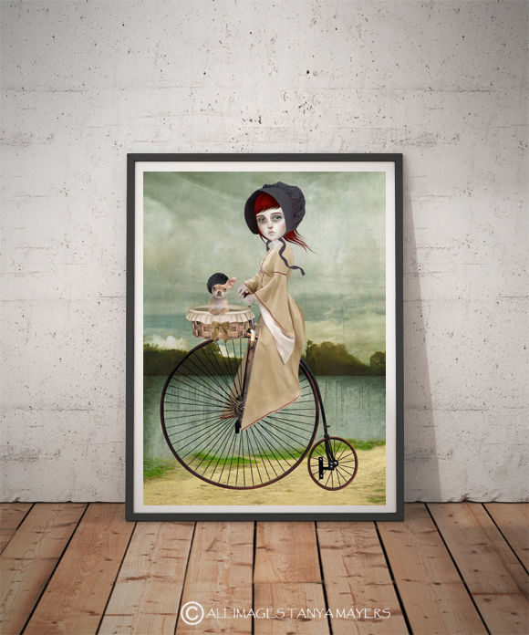 Penny Farthing Art Print - A Penny For Your Thoughts - product image