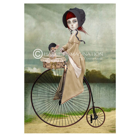 Penny,Farthing,Art,Print,-,A,For,Your,Thoughts,Penny farthing art print, Chihuahua art, Lowbrow art, Wall art print, HarrietsImagination