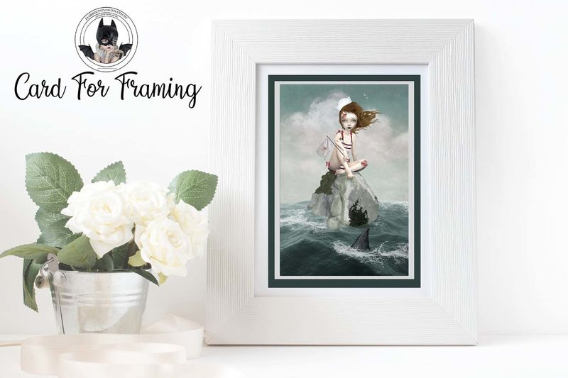 Sailor Girl And Shark Fin Art Greeting Card - product image
