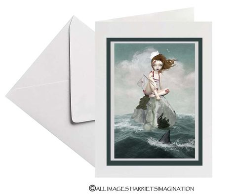 Sailor,Girl,And,Shark,Fin,Art,Greeting,Card,Sailor Girl And Shark Fin Art Greeting Card, Blank Art Greeting Card, All Occasion Card, Art Greeting Card, Art Card, Nautical Greeting Card, Keepsake card, Tanya Mayers, HarrietsImagination