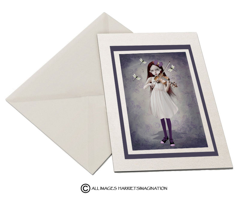 Girl And Dragonflies Art Greeting Card - product image