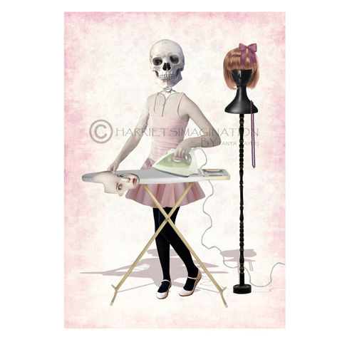 Creepy,Cute,Art,Print,-,Girls,Night,Out,Creepy cute art print, Skeleton wall art, Skeleton girl, Wall art print, HarrietsImagination