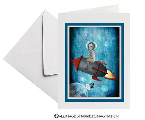 Space,Rocket,To,The,Moon,Art,Greeting,Card,Art Greeting Card, Space rocket to the moon Art Greeting Card, Space card, All Occasion Card, Pop surrealism, Tanya Mayers, HarrietsImagination