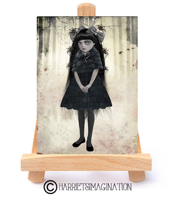 Goth Girl And Spiders ACEO Print - Arachnophilia - product image