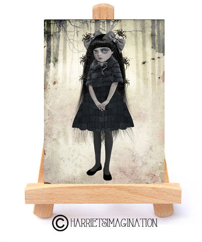 Goth,Girl,And,Spiders,ACEO,Print,-,Arachnophilia,Goth girl and spiders ACEO print, ACEO Card, Gothic Art, Spider art, Creepy cute, HarrietsImagination