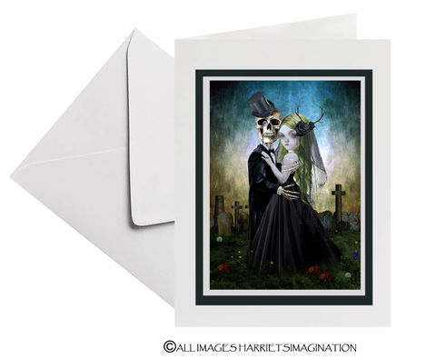 Gothic,Wedding,Art,Greeting,Card,Gothic Wedding Art Greeting Card, Goth wedding, Wedding Card, Eternal Love, Gothic Couple, Goth Love, Gothic Romance, Tanya Mayers, HarrietsImagination