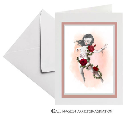 Girl,possessed,Art,Greeting,Card,Art Greeting Card, girl possessed Art Greeting Card, Creepy cute card, All Occasion Card, Pop surrealism, Gothic card, Tanya Mayers, HarrietsImagination