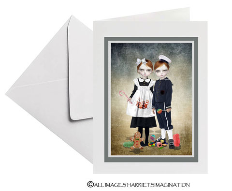 Hansel,And,Gretel,Art,Greeting,Card,Art Greeting card, Hansel and Gretel Art Greeting card, Fairytale art, Fairytale card, Creepy cute, Fairytale greeting card, Tanya Mayers, HarrietsImagination