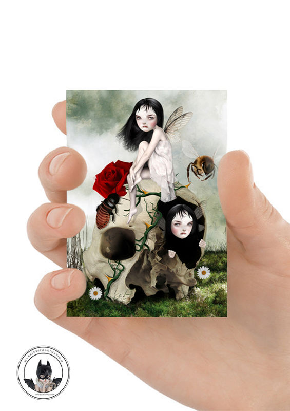 Fairies And Skull ACEO Print - You've Moved On - product image