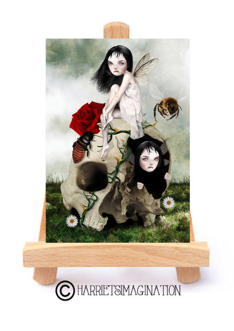 Fairies,And,Skull,ACEO,Print,-,You've,Moved,On,Fairies and skull ACEO Print, Fantasy Art, ACEO Card, Fairy art, Creepy cute art, Artist trading Card, HarrietsImagination