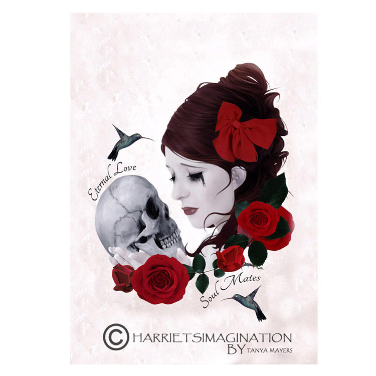 Girl And Skull Art Greeting Card - product image